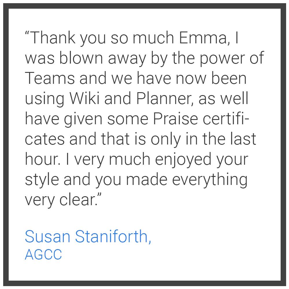 Testimonial 4 - Susan Staniforth AGCC