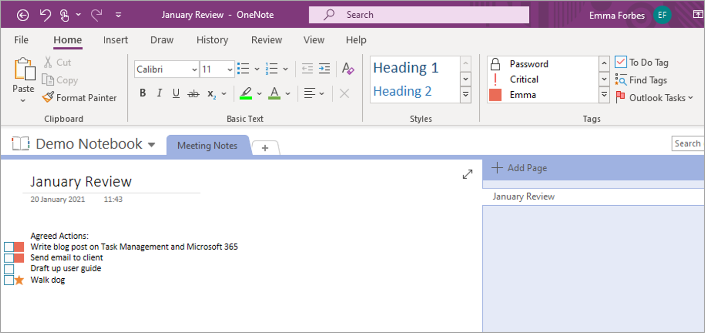 Tasks and OneNote